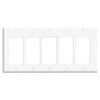 Leviton 5-Gang Decora Wall Plate-White