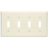 Leviton 4-Gang Toggle Switch Wall Plate-Almond