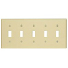 Leviton 5-Gang Toggle Switch Wall Plate-Almond