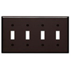 Leviton 4-Gang Toggle Switch Wall Plate-Brown