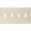 Leviton 4-Gang Toggle Switch Wall Plate-Ivory