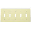 Leviton 5-Gang Toggle Switch Wall Plate-Ivory