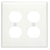 Leviton 2-Gang Duplex Receptacle Wall Plate-White