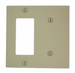 2-Gang Metal Decora Combination Wall Plate 1-Decora and 1-Blank-Ivory