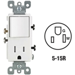 Tamper-Resistant Rocker Style Combination Decora Switch Receptacle