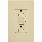 Lutron 15A Claro GFCI Receptacle-Ivory