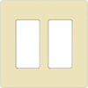 Lutron 2-Gang Claro Decorator Screwless Wall Plate-Almond