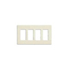 Lutron 4-Gang Claro Decorator Screwless Wall Plate-Light Almond