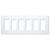 Lutron 6-Gang Claro Decorator Screwless Wall Plate-White