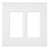 Lutron 2-Gang Satin Colors Screwless Decorator Wall Plate- Matte White