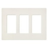 Lutron 3-Gang Satin Colors Screwless Decorator Wall Plate-Biscuit
