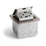 Lew Electric PUFP-CT-HOSPITAL-SS Countertop Box, Hospital Grade Power & USB Pop Up, Single Gang - Stainless Steel