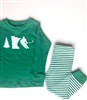 Pajama Set - Green with Striped Pants