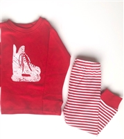 Pajama Set - Red with Striped Pants