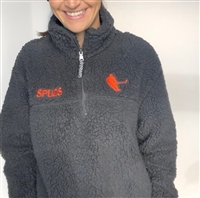 PRE-ORDER ADULT Sherpa Fleece Pullover -  Charcoal with Orange Embroidery and SPUDS