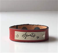 Sports -- Adjustable Leather Snap Cuff with Engraved Metal Plate