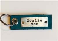 Goalie Mom -- Leather Tag Keychain (more colors)
