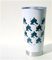 20.9 oz Hockey GOALIE Travel Tumbler - WHITE
