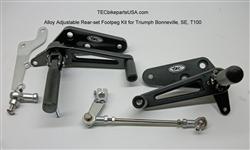 Tec Black Alloy Adjustable Triumph Rear Set Footpeg Kit