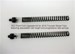 TEC Front Fork Upgrade Kit for Triumph Street Twin, featuring adjustable ride height and progressive rate springs