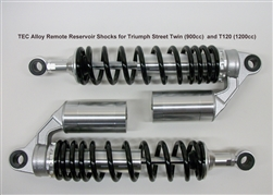 TEC Alloy Remote Reservoir Shocks for Triumph Street Twin (900cc) and T120 (1200cc)