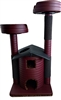 Burgundy Leopard II Queen's Kastle Deluxe Luxury Cat Tower w/ (2) Cat Bed
