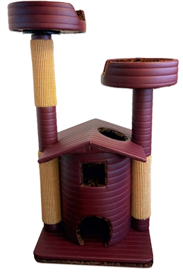 Burgundy Leopard Queen's Kastle Deluxe Luxury Cat Tower w/ (2) Cat Bed