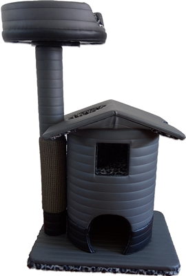 Charcoal Snow Leopard Queen's Kastle Luxury Cat Tower w/ Cat Bed