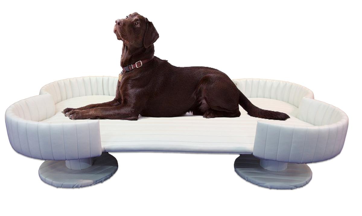 Extra Large Royal Bone Dog Bed White