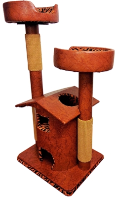 Honey Tiger Queen's Kastle Deluxe Luxury Cat Tower w/ (2) Cat Bed