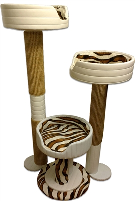 Ivory Sahara Hybernest Triplex Luxury Cat Tower w/ (3) Cat Beds
