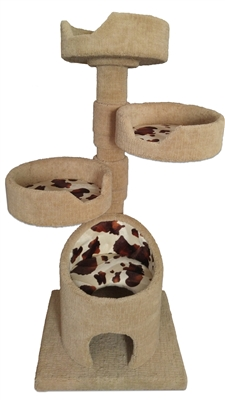 KB3-Fur Luxury Cat Tower w/ (3) Cat Bed