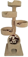 KB4-Fur Luxury Cat Tower w/ (4) Cat Bed