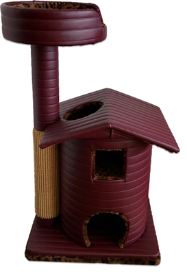 Burgundy Leopard Queen's Kastle Luxury Cat Tower w/ Cat Bed