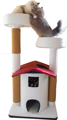 Ivory Sahara Queen's Kastle Deluxe w/ Red Roof Luxury Cat Tower