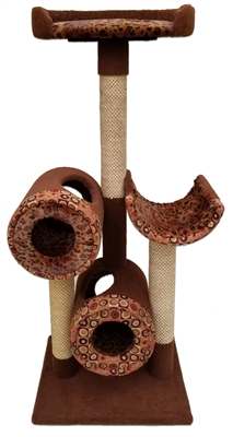 T2P1D1 Deluxe Cat Tower w/ (2) Cat Tunnel, (1) Cat Perch (1) Cat Deck