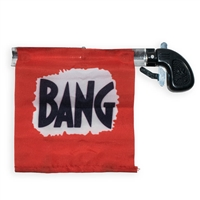 "A great gift idea! This hilarious prank gun looks like a tiny Derringer, but when you pull the trigger, the flag unfurls revealing the word ""BANG""."