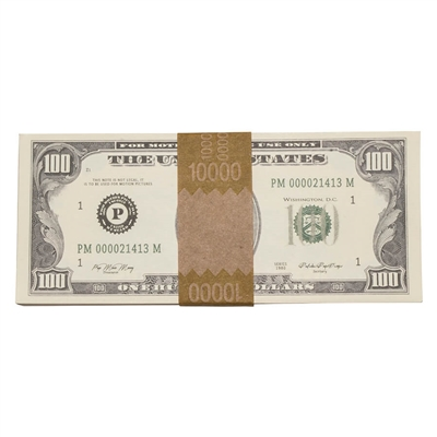 Prop Movie Money - $10,000 Stack Full Print (1980s $100s)