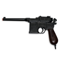 The Mauser C96, frequently referred to as a Mauser Broomhandle, is a German-made semi-automatic pistol first introduced in the 1890s. Though frequently associated with the Nazis, these guns were used throughout Europe and East Asia in the first half of th