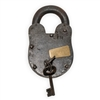 Fully-functioning extra large lock and key. This lock works just like any other, but looks and feels authentic to the Old West.