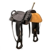 Our beautiful black Trick Riding Saddle comes standard with hippodrome strap and rear crouper hand holds, as well as matching breast collar, bridle, and single rein (roper/contest style rein). Manufactured by Western Stage Props, this saddle provides exce