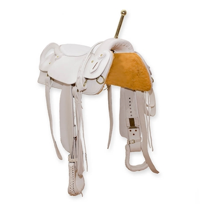 Handmade leather trick riding saddle available in white