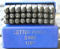 3mm Basic Block Font Metal Uppercase Letter Alphabet Stamp Set - SGBB-3MM