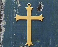 "Brass 2"" x 3 1/8"" Cross Metal Stamping Blank - 2 Pack - SGET-4058"
