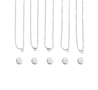Impress Art Personal Impressions 10mm Circle Silver Plated 5 Necklace Metal Stamping Kit - 5 Pack - SGPI21 - 5