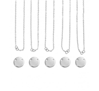 Impress Art Personal Impressions 15mm Large Circle Silver Plated 5 Necklace Metal Stamping Kit - 5 Pack - SGPI22 - 5