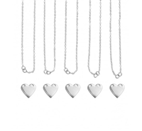 Impress Art Personal Impressions 13mm x 14mm Heart Silver Plated 5 Necklace Metal Stamping Kit - 5 Pack - SGPI23 - 5