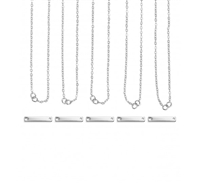Impress Art Personal Impressions 3mm x 20mm Rectangle Silver Plated 5 Necklace Metal Stamping Kit - 5 Pack - SGPI24 - 5