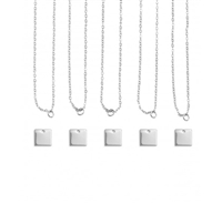 Impress Art Personal Impressions 11mm Square Silver Plated 5 Necklace Metal Stamping Kit - 5 Pack - SGPI26 - 5