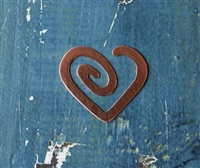 "Copper 1 1/2"" x 1 3/8"" Heart Spiral 24 Gauge Deburred Metal Stamping Blank - 1 Blank - SGSOL-MM10"
